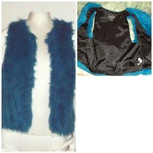 Open Front Faux Fur Casual Outerwear Vest